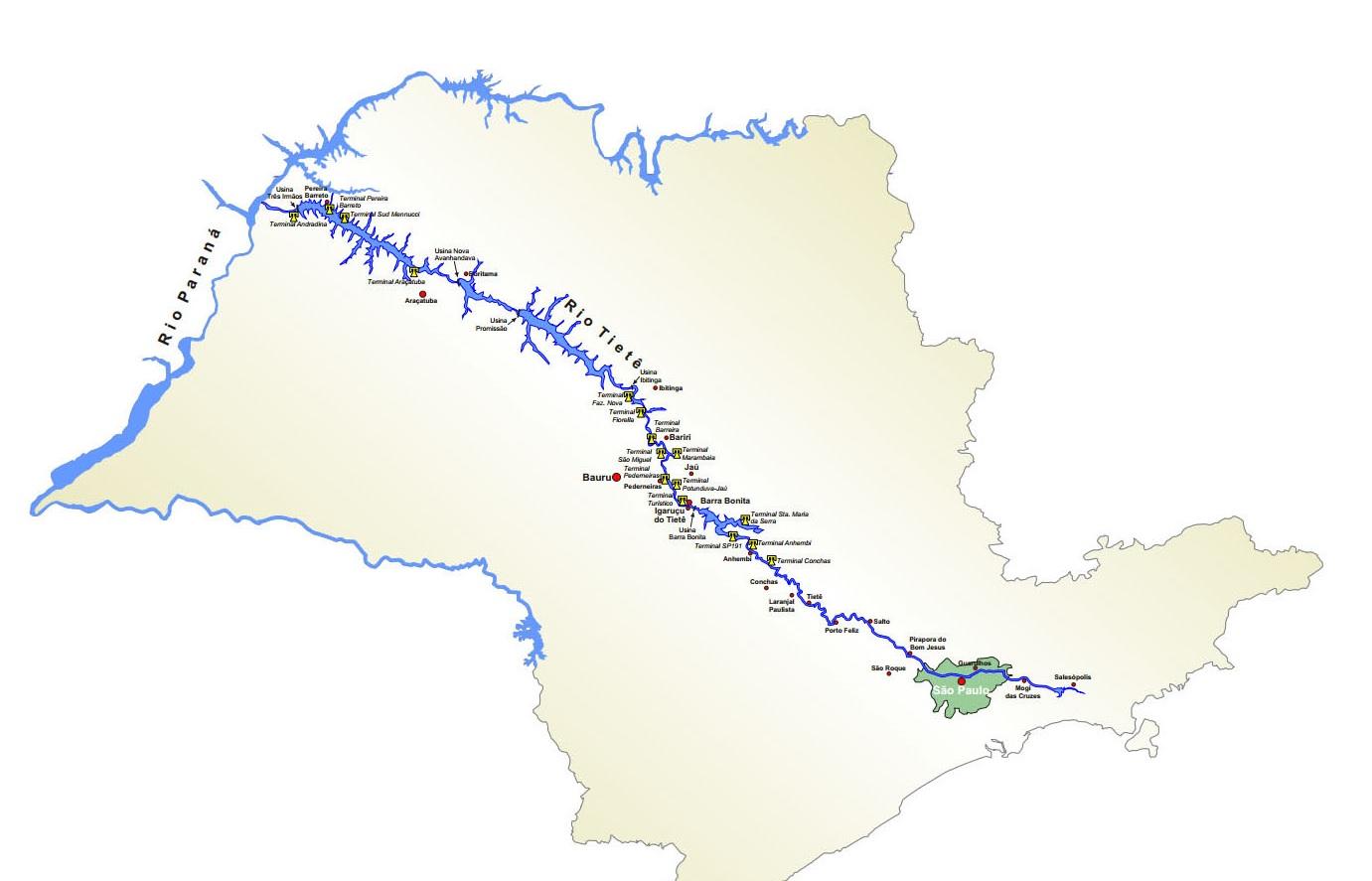 Resultado de imagem para rio tiete mapa